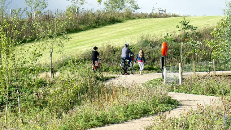 People cycling along a path in the countryside of Eddington