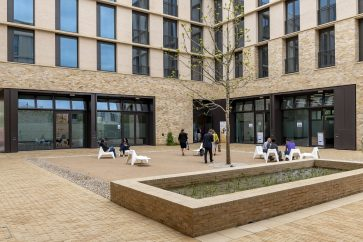 Courtyard at the Postdoc Centre at Eddington